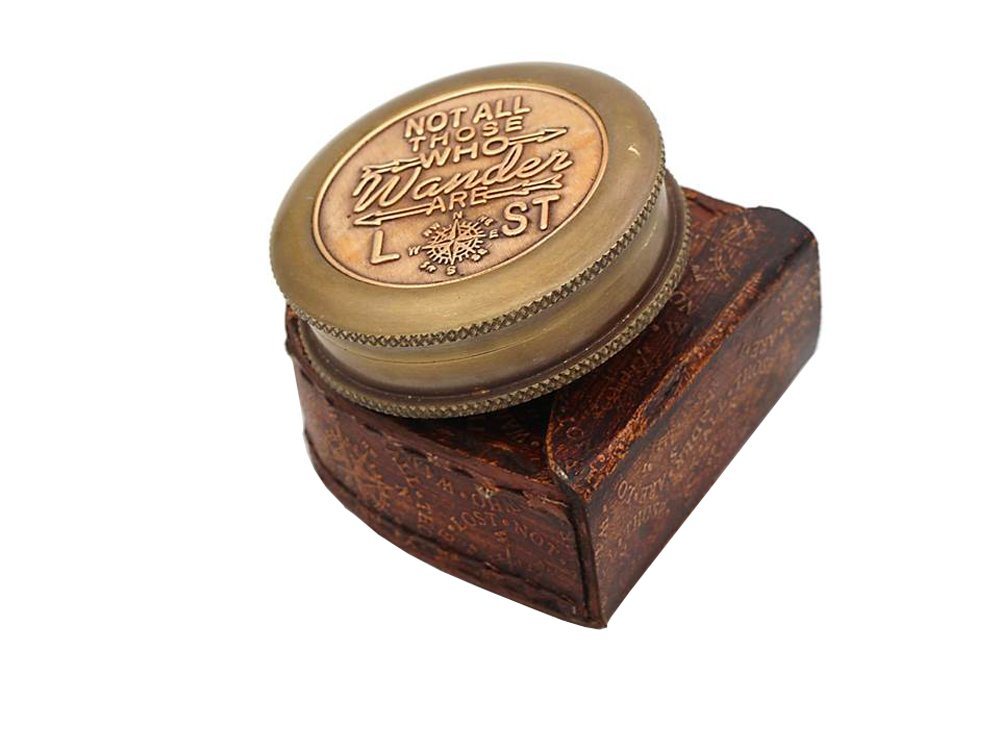 Roorkee Instruments India Not All Those who Wander are Lost Solid Brass Compass W//Case RII-CM-101D