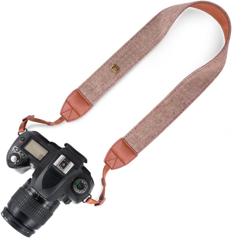 Striped New Elvam Universal Men and Women Camera Strap Belt Compatible with All DSLR Camera and SLR Camera (Brown)