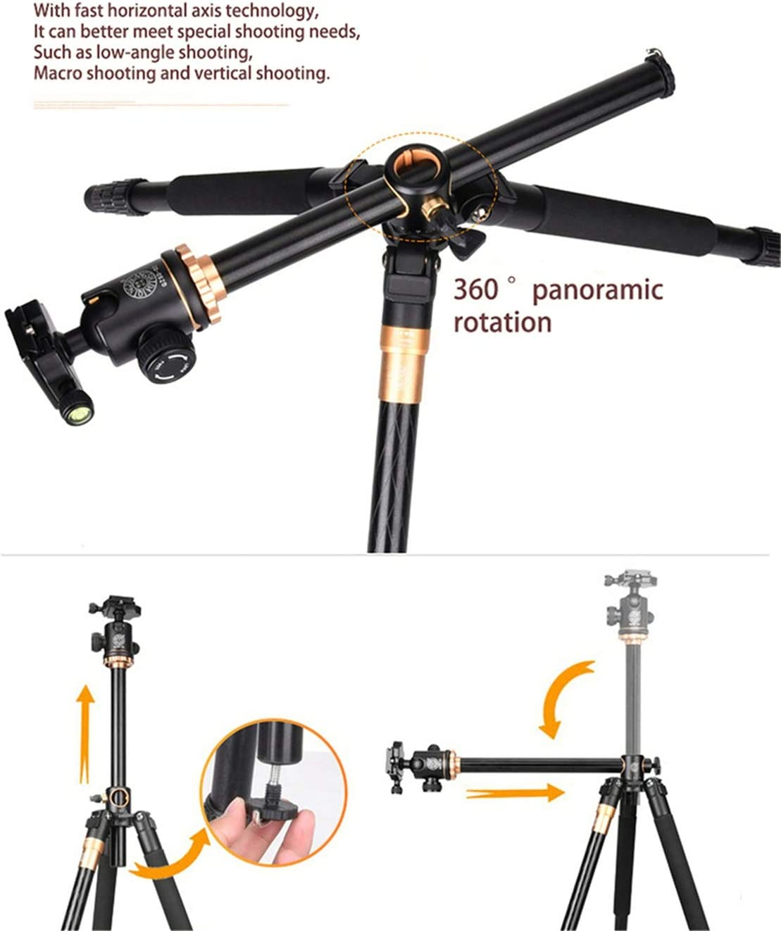 """LLluckyHW Camera Tripod Rotatable Center Column Flexible Portable Three-Way Head Flexible Sturdy Legs 1//4/"""" Quick Release Plate and Carrying Bag Color : Black"""