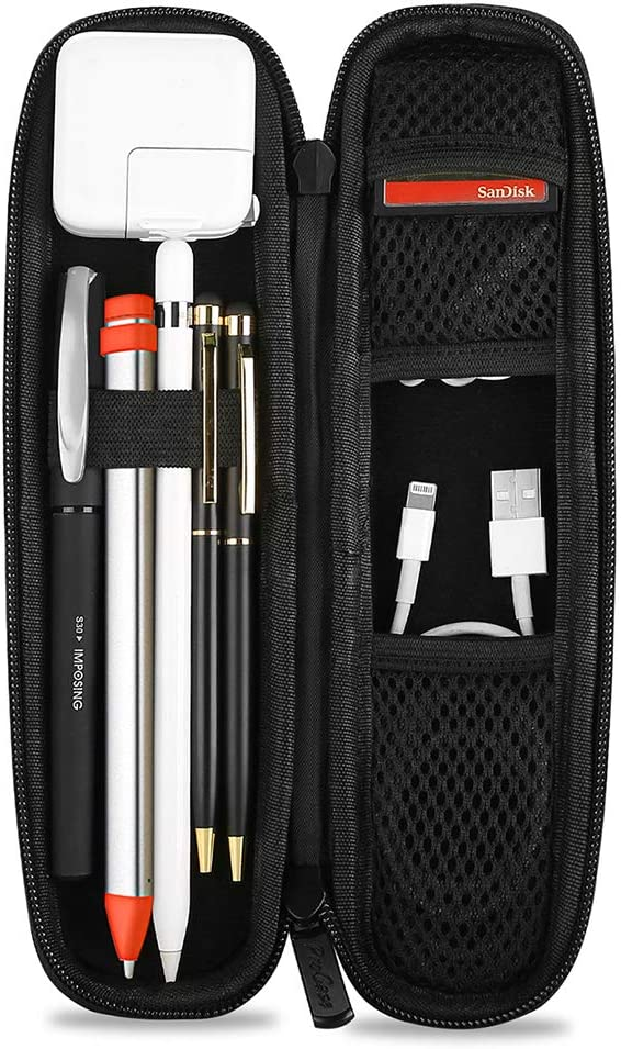 ProCase Holder Case for Apple Pencil, PU Leather Carrying Case Hard EVA Protective Pouch Sleeve Bag for iPad 10.2 2019/Pro 11 2018 12.9 10.5 9.7 Pencil/Stylus/Surface Pen, with Mesh Pockets –Black