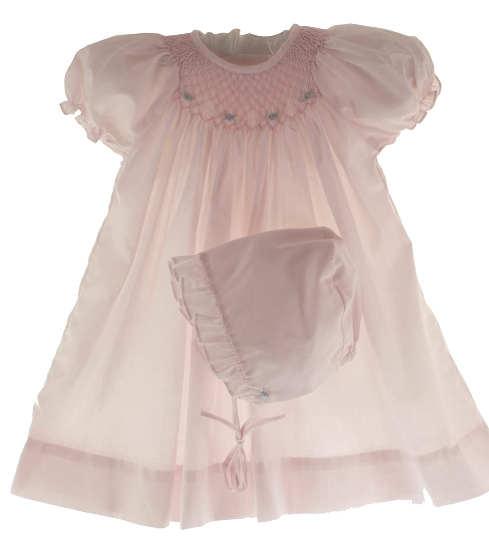 Amazon.com: Petit Ami Newborn & Infant Girls Pink Smocked Day ...