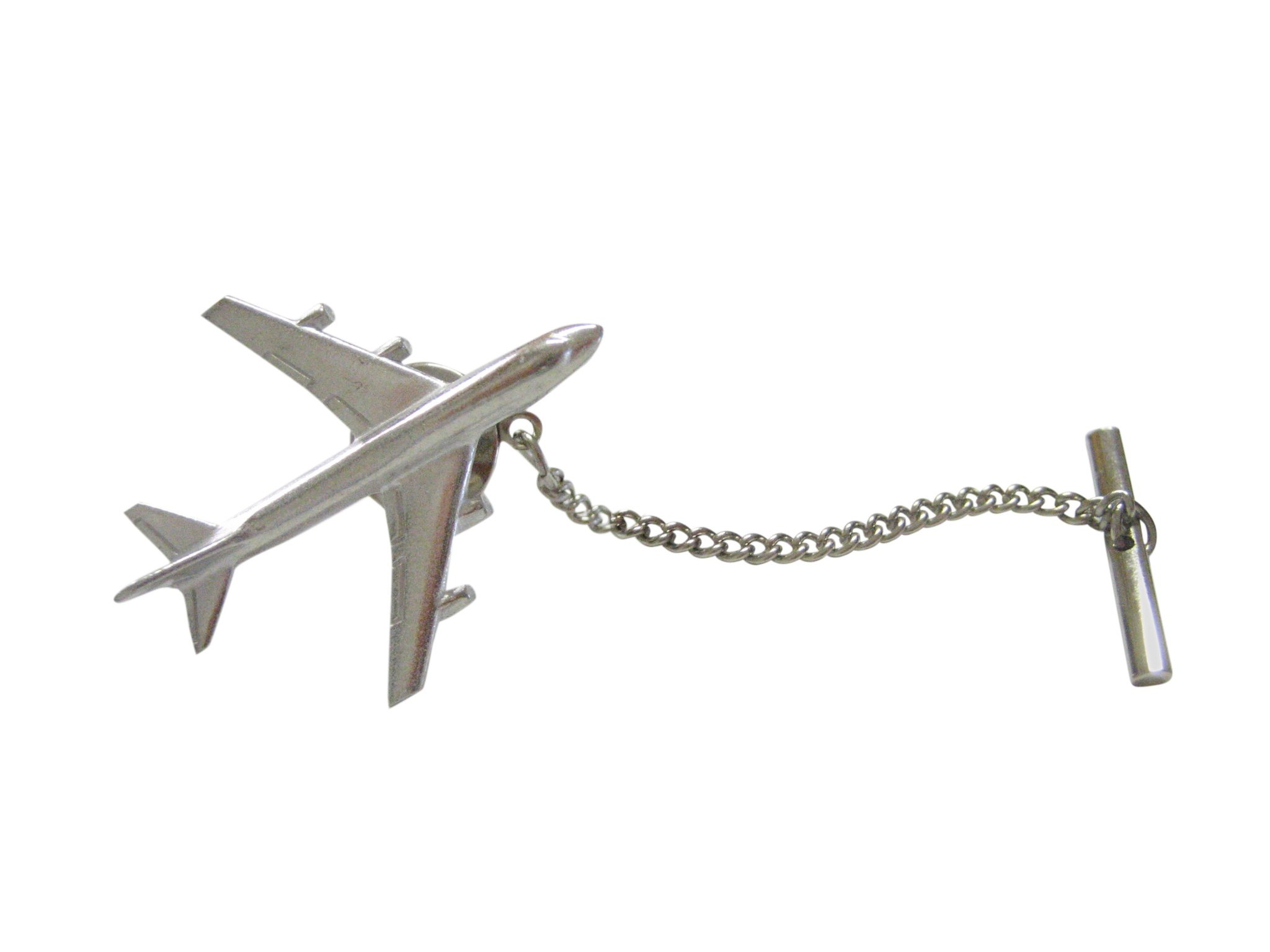 Smooth Large Commercial Jet Plane Tie Tack