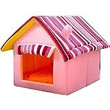 JEELINBORE Plegable Portátil Caseta Casa para Mascota Cama para Perro o Gato (Rosa, M