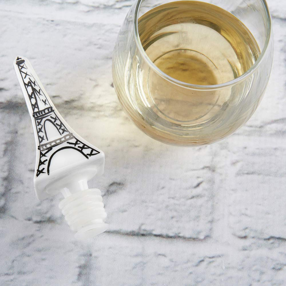 Kate Aspen 23199NA Artistic Eiffel Tower Ceramic Bottle Stopper Wine Preserver One Size white, black