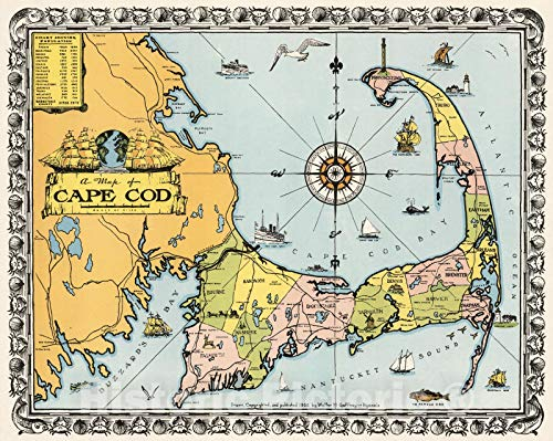 Historic Map | A map of Cape Cod. Drawn, copyrighted, and published 1932 by Walter M. Gaffney | Vintage Wall Art | 30in x 24in
