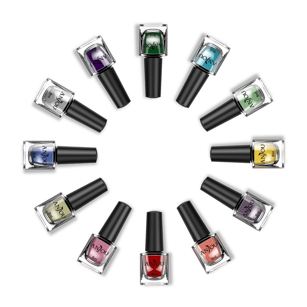 Anjou Peel Off 12 Colors Nail Polish Set, Eco-Friendly Non-Toxic Finger Nail Art Polish Lacquer, Safe Dry Fast Collection for Women, Teens, Kids with Top Coat, Professional Kits