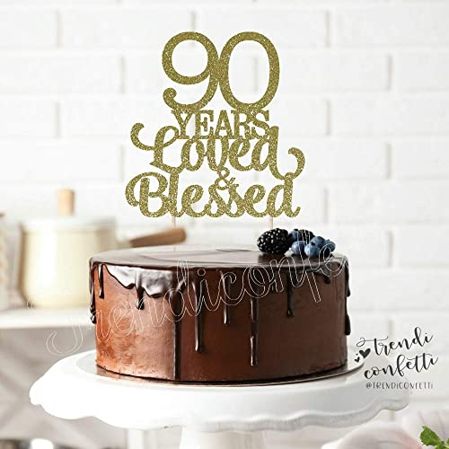 Wondrous Amazon Com Trendiconfetti 90 Years Loved And Blessed Cake Topper Funny Birthday Cards Online Inifofree Goldxyz