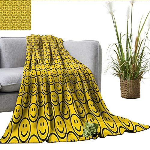 ScottDecor Emoji Queen Size Blanket Flat Smiley Faces Expressing Happiness in Diagonal Order Joyful Childhood Sherpa Throw Blanket Yellow Dark Army Green W30 xL50