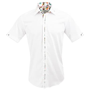 4d0641a474e Claudio Lugli White Cactus Trim Designer Luxury Cotton Short Sleeve Summer  Casual Mens Shirt CP6408  Claudio Lugli  Amazon.co.uk  Clothing