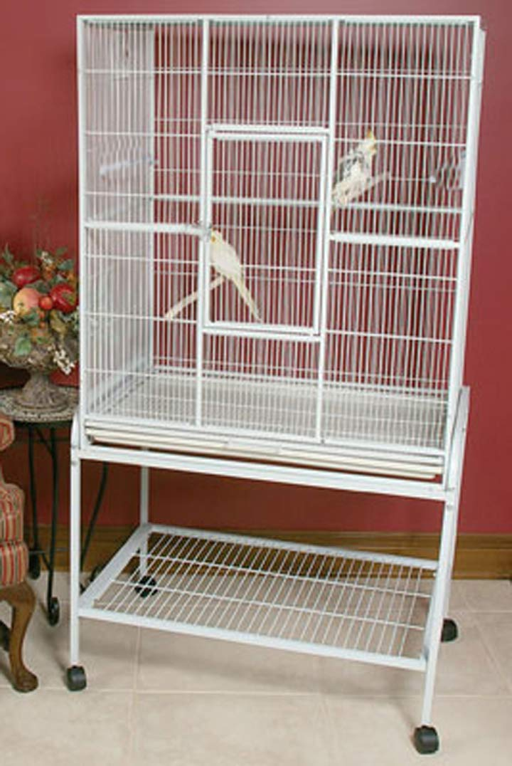 Mcage Large Wrought Iron Flight Canary Parakeet Cockatiel Lovebird Finch Cage with Removable Stand (32'' L x 18'' W x 64'' H, White Vein) by Mcage