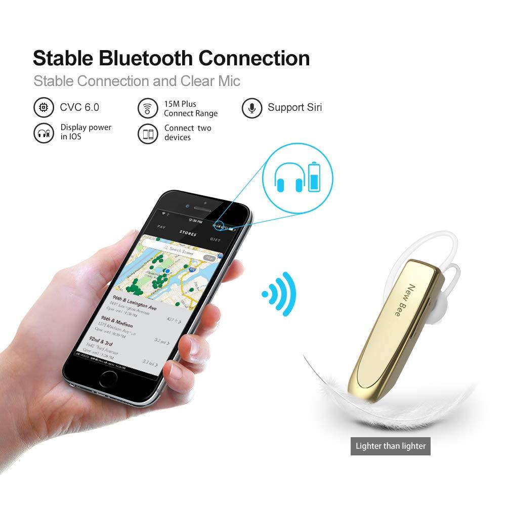 Auriculares Bluetooth Negocio, New Bee Auricular Bluetooth Inalámbrico con Micrófono Cancelación de Ruido Manos Libres para iPhone, Samsung, HTC, LG, Sony, ...
