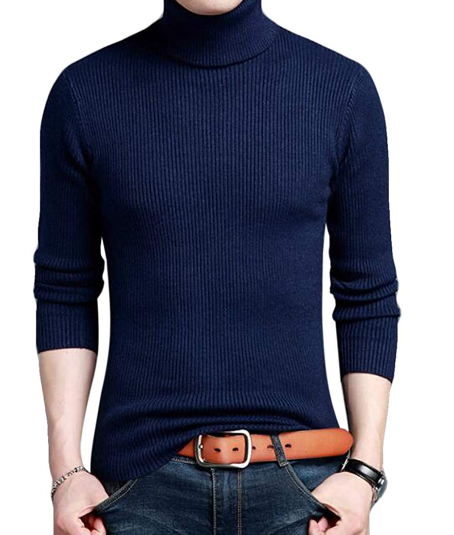 UUYUK Men Turtle Neck Thickened Pullover Slim Kint Sweater