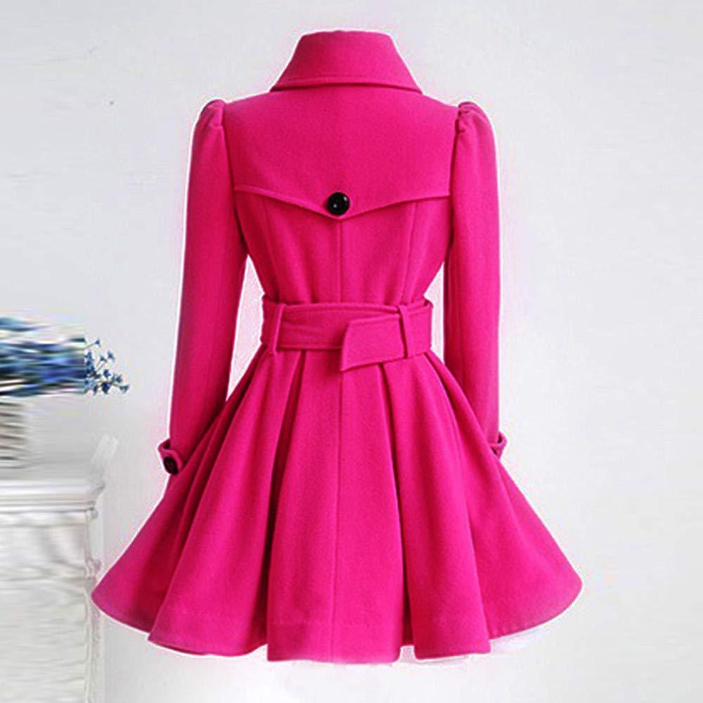 Lavany Clearance Womens Woolen Coat Winter Trench Parka Overcoat Outwear with Belt