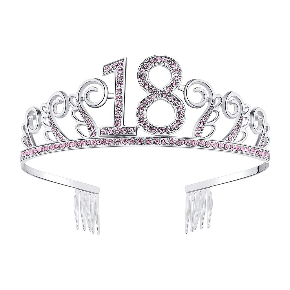 Homeofying Sparkling Pink Silver Rhinestone Inlaid Number Hollow Wedding Birthday Tiara Wedding Birthday Party Crown 50