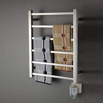TONGTONG Calentador de la Toalla, radiador Calentador eléctrico de la Toalla caliente-plata-