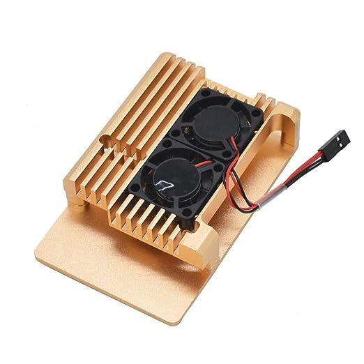 Retransmitir Tabla Caja de aluminio de aleación de metal dorado apto for Raspberry Pi 3B + con ventilador de refrigeración En la Tarjeta de Expansión: Amazon.es: Bricolaje y herramientas