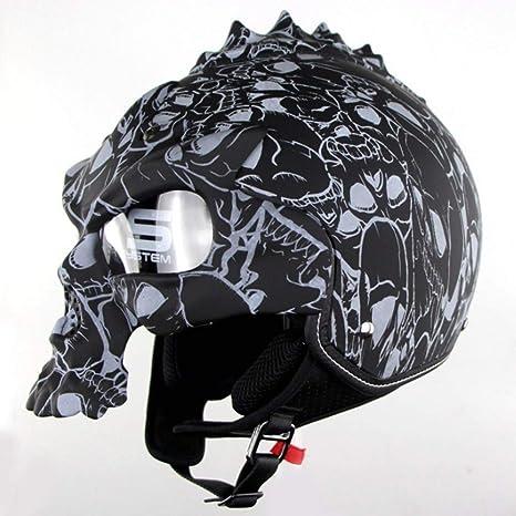 Casco De Motocicleta De Cráneo Cascos Retro De Media Cara Casco De Ciclismo De Moto Desmontable