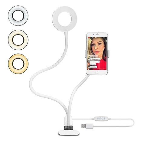 Velouer Luz Selfie para Transmisión en Vivo,Selfie Anillo de Luz con Soporte para Teléfono Móvil,3 modos de luz y 10 niveles brillo,luz selfie para ...