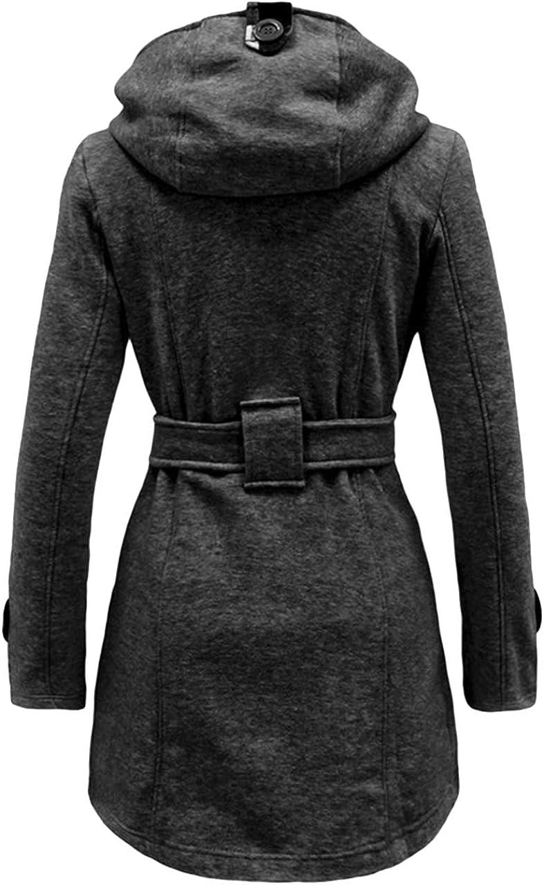 OMZIN Women Lapel Wrap Coat Outwear Long Overcoat with Belt Plue Size XS-XXL
