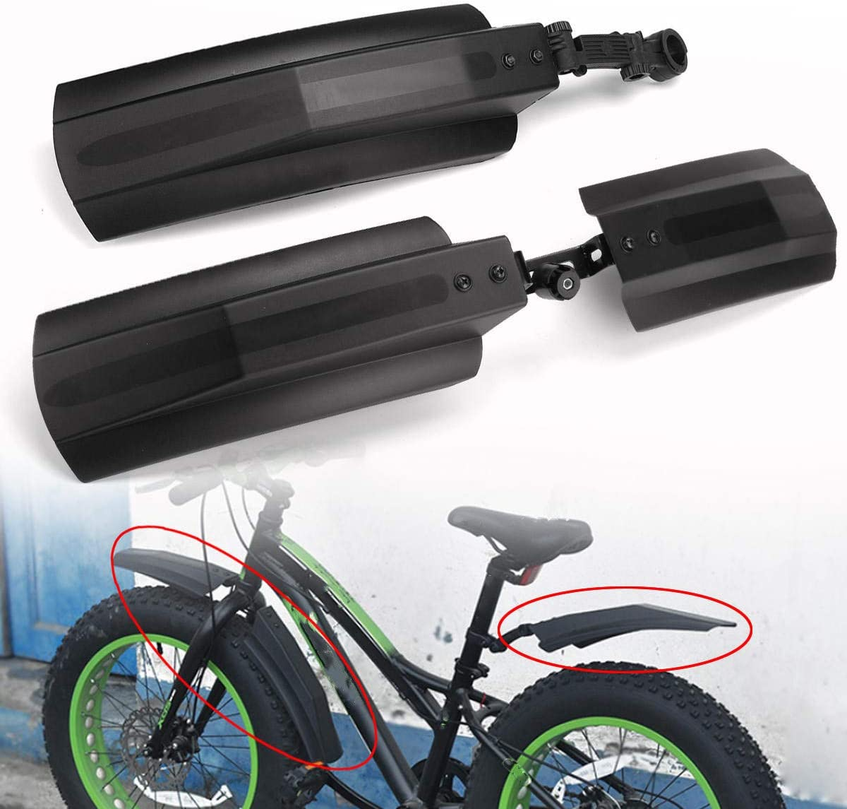 Bike Mudguard Snow Bicycle Protective Front Rear Fat Tire Cycling Mtb Fenders
