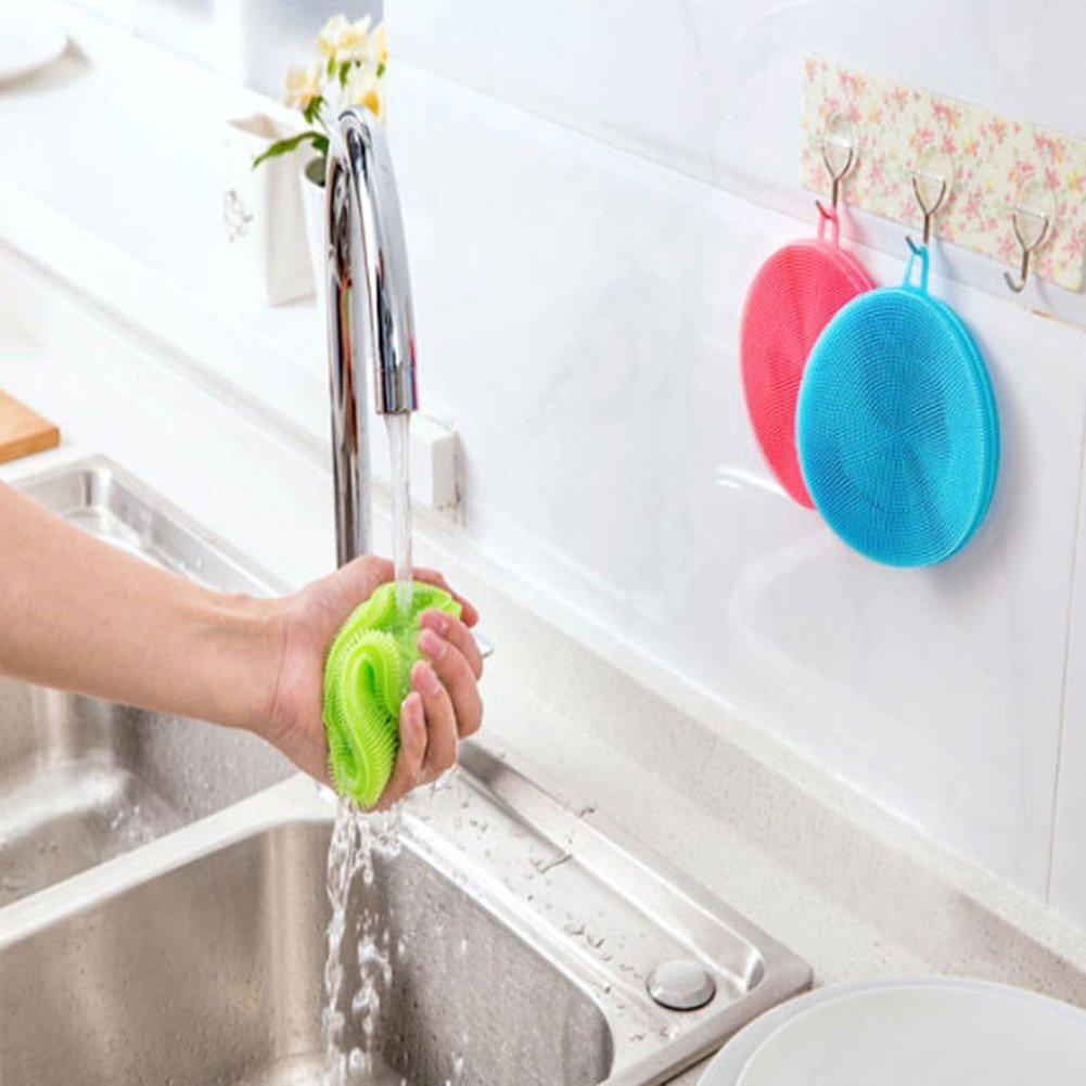 Mid Alcioneo morbido silicone Sponge scrubber Kitchen Tool Fruit detersivo pulizia della famiglia Silicone Yellow