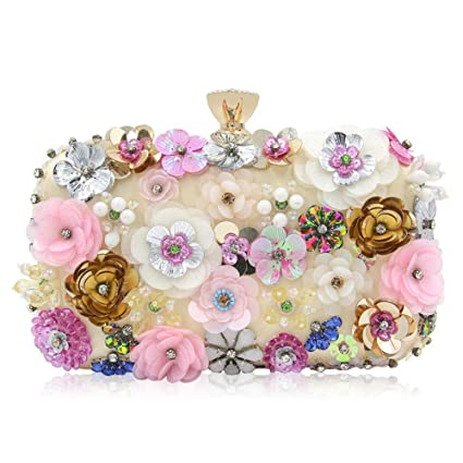 Flower Evening Bag Fashion Diamond Evening Bag Lady Hand Wallet Card Package Dress Bag Shoulder Bag Qzny Womens Evening Bag Color : A, Size : 20146cm
