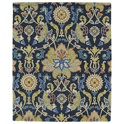 Bombay Home Hand-tufted Anabelle Navy Blue Floral Wool Rug (8' x 11')