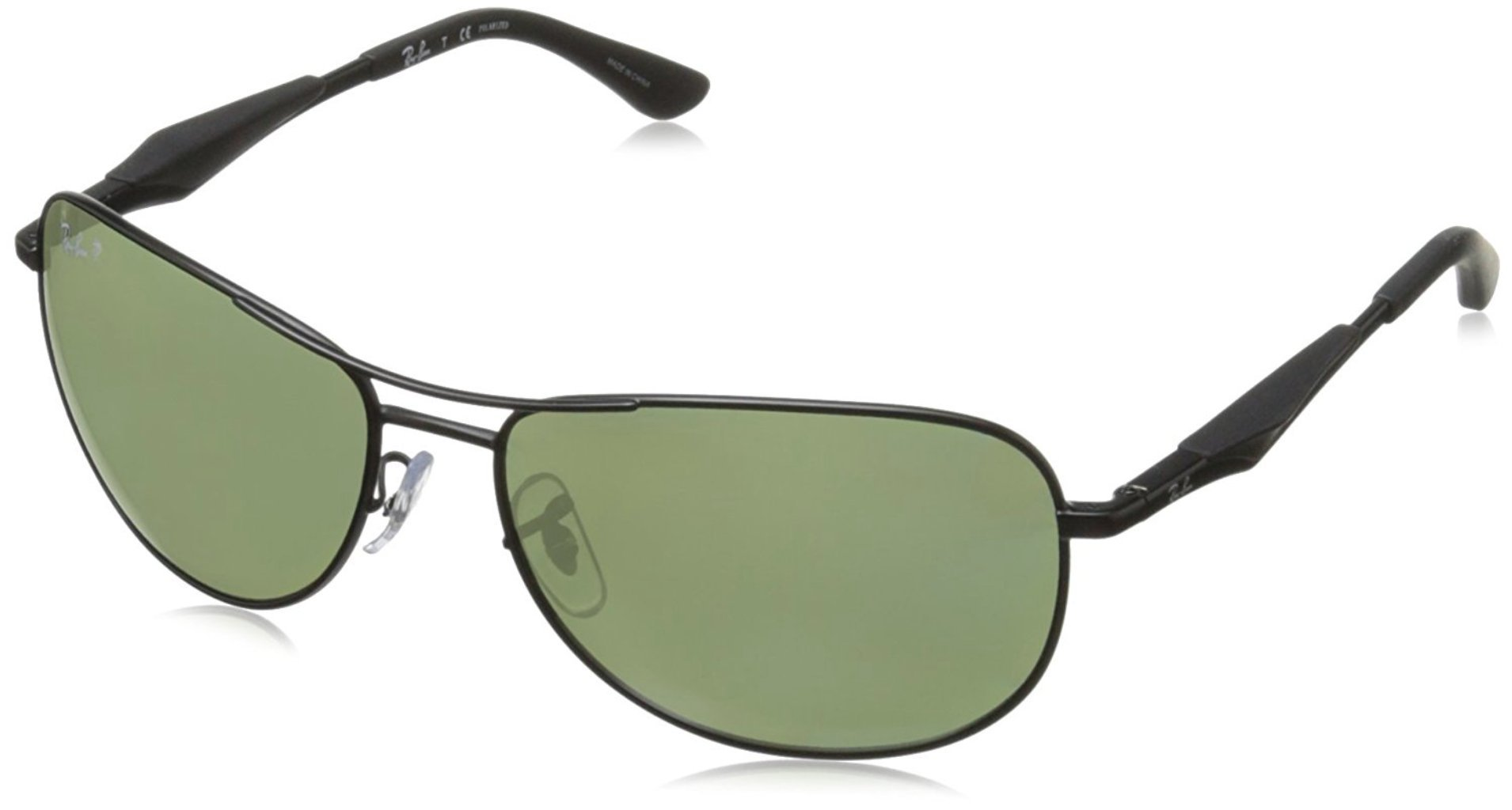 RAY-BAN RB3519 Aviator Sunglasses, Matte Black/Polarized Green, 59 mm by RAY-BAN