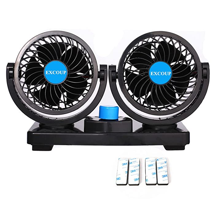 12V Fan Cooling Air Fan Powerful Dashboard Electric Car Fan Low Noise 360 Degree Rotatable with 2 Speed Adjustable for Truck Vehicle Boat
