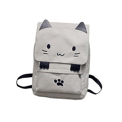 Rain's Pan Cute Cartoon Cat Print Canvas Waterproof Backpack Shoulder Bag Laptop Bag