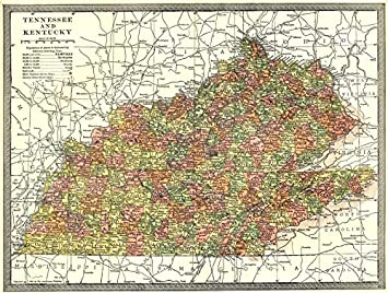 Tennessee y Estado de Kentucky Mapa. Condados Old Map - diseño ...