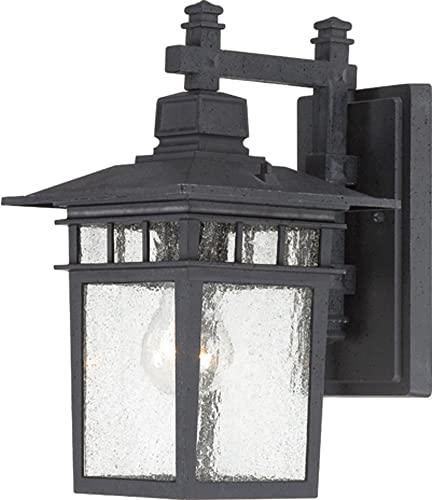 Nuvo Lighting 60 4953 Cove Neck One Light Wall Lantern Arm Down 100 Watt A19 Max. Clear Seeded Glass Textured Black Outdoor Fixture