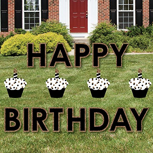 Big Dot of Happiness Adult Happy Birthday - Gold - Yard Sign Outdoor Lawn Decorations - Happy Birthday Yard Signs -