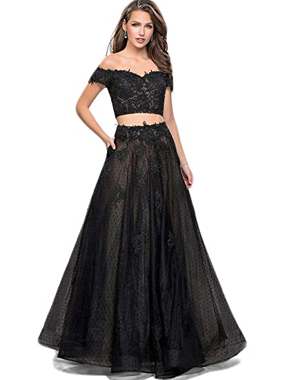 f383e2b6228 Women s Off The Shoulder Prom Dresses Two Piece Long Lace Formal Evening Gowns  Black US2