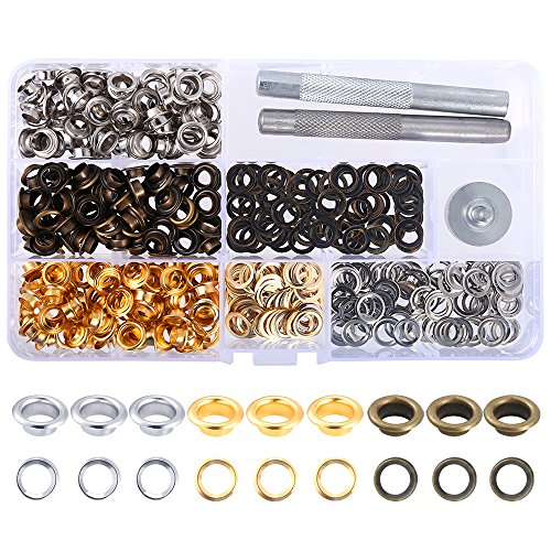 Review Caydo 300 Sets 1/4 Inch Grommet Kit with 3 Colors Grommet Eyelets, 3 Pieces Inside Diameter G...