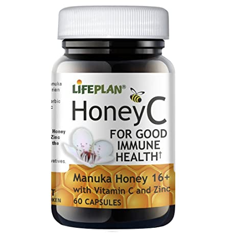 Lifeplan HoneyC Miel Manuka 16+ con vitamina c & Cinc 60 cápsulas