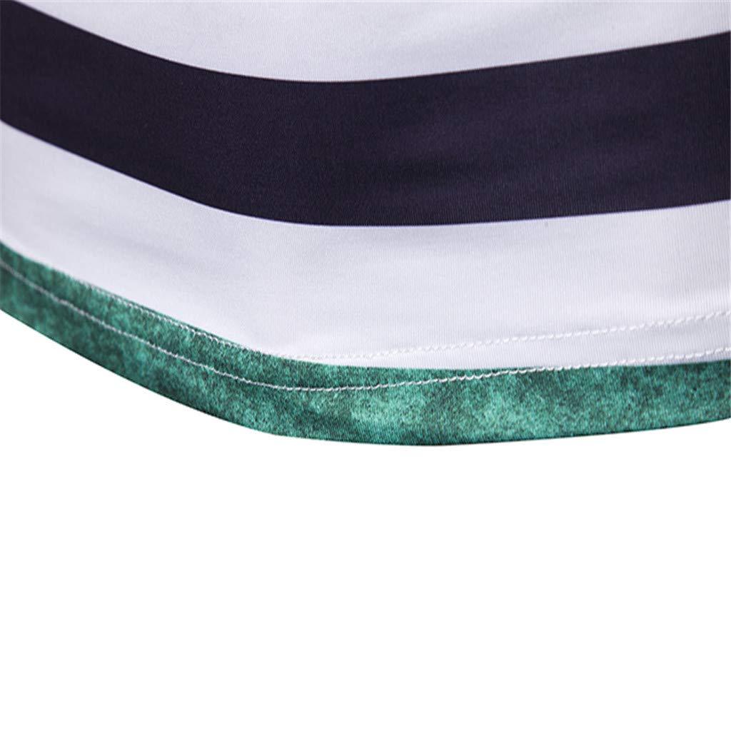 Misaky Men Fashion Short Sleeve Stripe Painting Large Size Casual Top Blouse Shorts Misaky-Shirt-0318