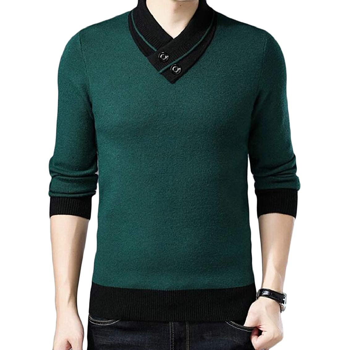 Hokny TD Mens Casual V-Neck Thicken Long Sleeve Knitting Pullover Sweaters