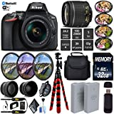 Nikon D5600 DSLR Wi-FI NFC 24.2MP DX CMOS Camera AF-P 18-55mm VR Lens + LED Light kit + Wide Angle & Telephoto Lens + 7PC Filter Kit + Camera Case - International Version