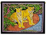 Tiger Indian Wall Hanging Cotton Tapestry Poster Size Multicolour Boho Décor 42X30 Inches