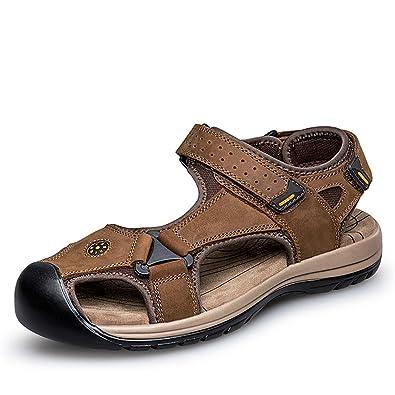 ailishabroy Echtes Leder Sandalen Herren Wandern Sommer Strand Klett Schuhe  (38 EU, Braun)