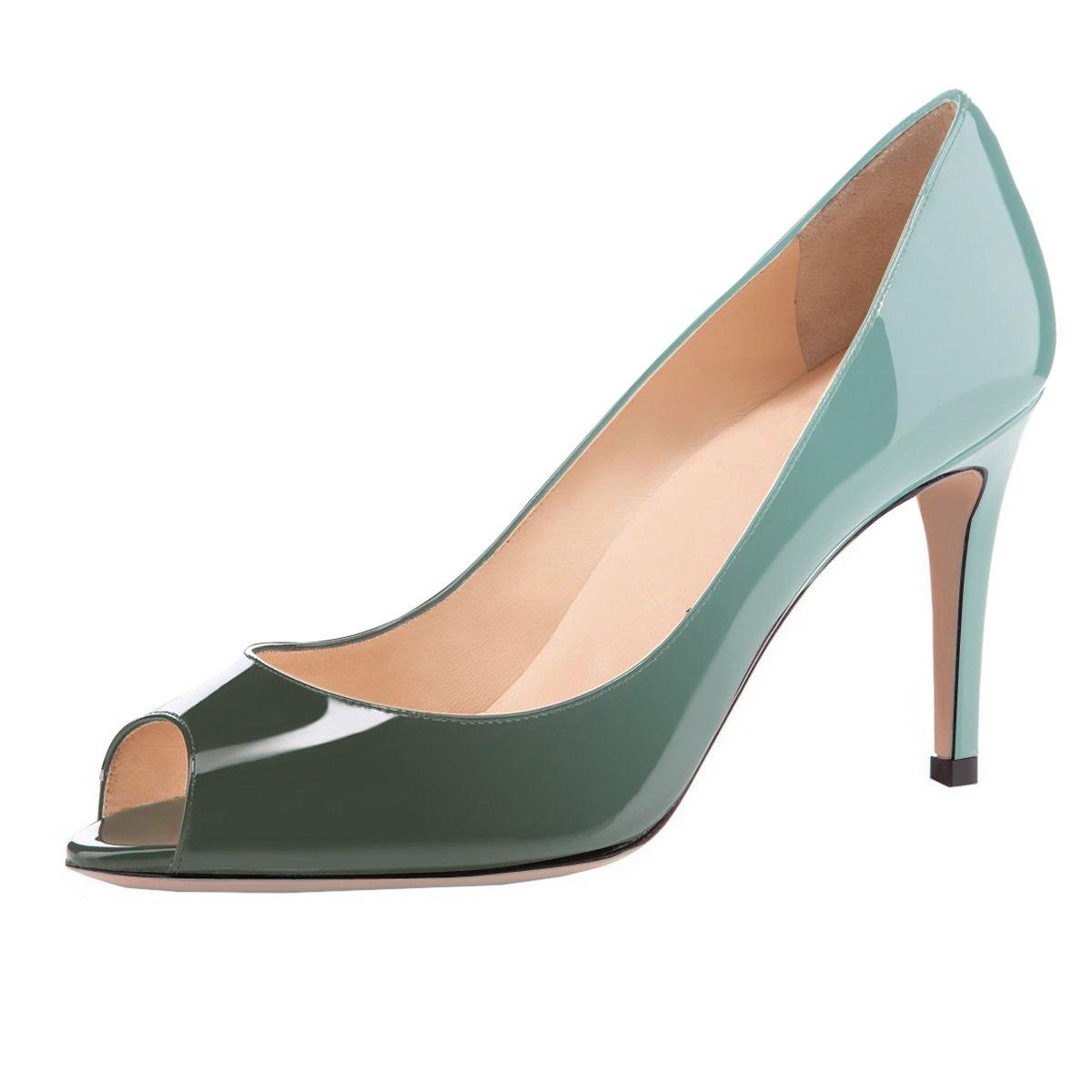 Eldof Women Peep Toe Pumps Mid-Heel Pumps Formal Wedding Bridal Classic Heel Open Toe Stiletto B07F8QHDC6 5.5 B(M) US|Emerald
