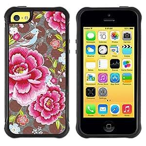 LASTONE PHONE CASE / Suave Silicona Caso Carcasa de Caucho Funda para Apple Iphone 5C / Flower Petals Polka Dot Pattern Vintage