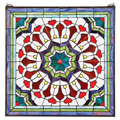 (Design Toscano Victorian Floral Tiffany-Style Stained Glass Window)