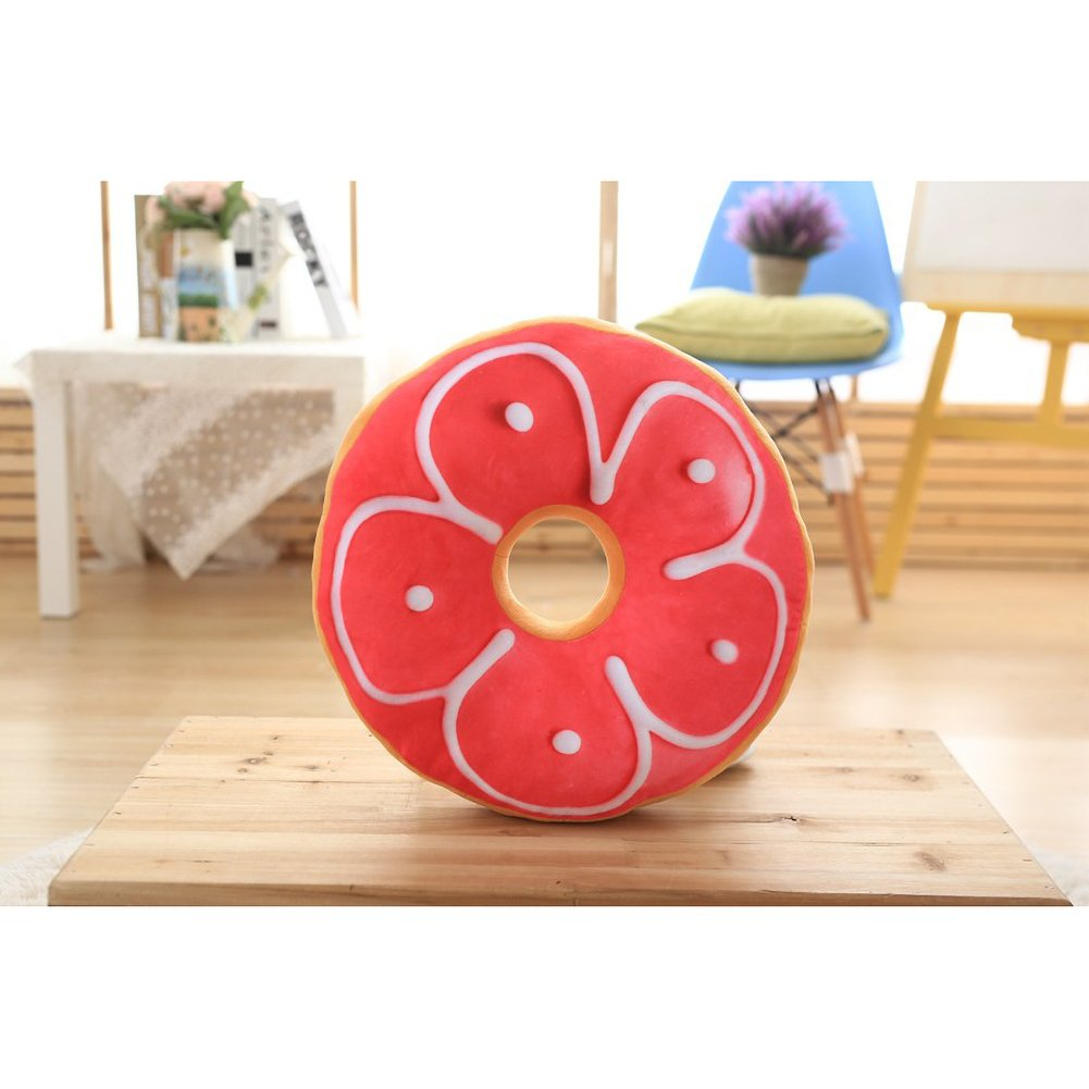 ChezMax Round Doughnut Donut Seat Back Stuffed Cushion Insert Filler Filling Throw Pillow Plush Play Toy Doll for Kid Boy Girl Bedroom Bedding Bed Room Pink Flower 16 X 16''