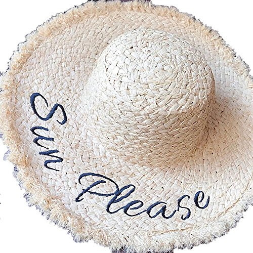 Sdcvopl Womens Straw Hat The Spring and Summer Season Hand-Woven Embroidered Letter Straw Hat with Thick-Edge Sun Visor. Beach Cap ()