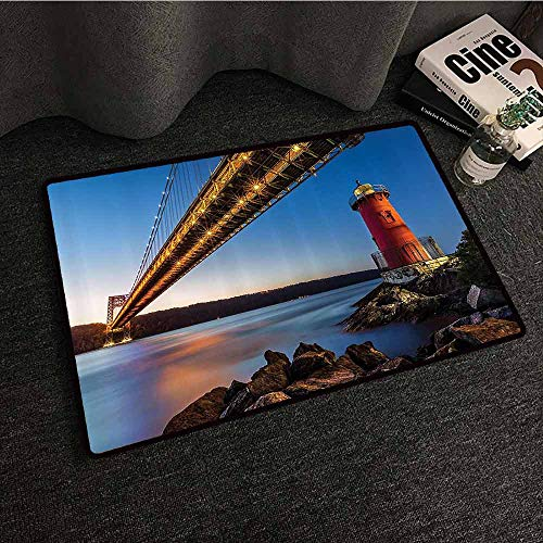 - Apartment Decor Collection Printed Door mat George Washington Bridge and Lighthouse on The Hudson River in New York Picture Quick and Easy to Clean W16 xL24 Blue Bright Gold