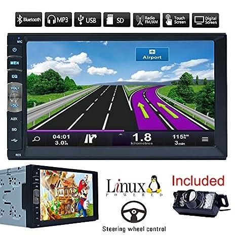 "7/"" Double 2 Din Car GPS Navigation MP5 MP3 Radio Player No-DVD//CD Bluetooth UK"