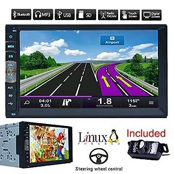 Coche Bluetooth GPS Navigation MP5 2 DIN 7 Pulgadas de Pantalla táctil Auto Radio Receptor estéreo del vehículo Multimedia PC Sistema No-DVD con la ...
