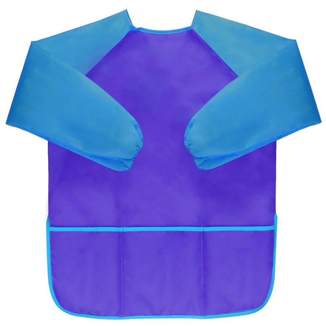 VWH Children Waterproof Artist Painting Smock Aprons Long Sleeve Blue for 5-8 Years